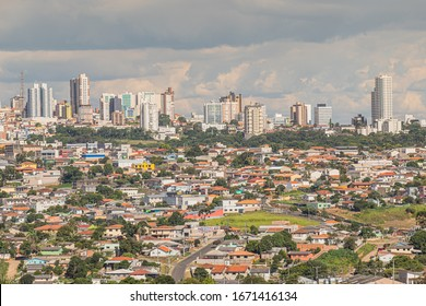 Ponta Grossa / Paraná / Brazil - December 24, 2019 - Wide view of houses and buildings in the city of Ponta Grossa, southern Brazil