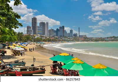 Ponta Negra beach with buildings in Natal city - Brazil