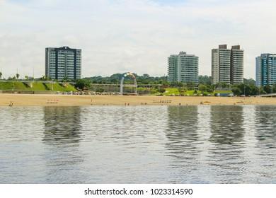 Ponta Negra Beach on the Rio Negro River, near Manaus, Amazonas, Brazil, South America