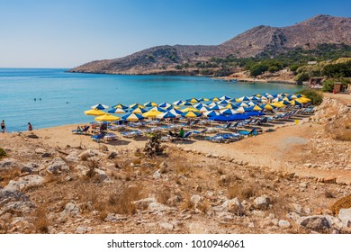 Pontamos beach - most popular beach on island of Halki (Greece)