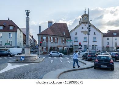 PONTARLIER, FRANCE -SEPT.04, 2018:Downtown Pontarlier,France