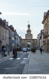 PONTARLIER, FRANCE - SEPTEMBER 04,2018: Triumphal arch of the Porte Saint-Pierre at sunset - Image