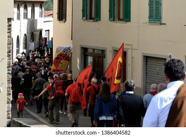Pontassieve, Florence, Italy - April 25, 2019. Procession of April 25th. On 25 April, in Italy, we celebrate the liberation from the Nazi-fascism and the end of the Second World War. This is a very im