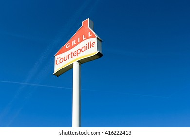 PONTAULT COMBAULT, FRANCE - MAY 5, 2016: Logo of Courtepaille brand in France. Courtepaille is a French chain of restaurants specializing in grilled meat.