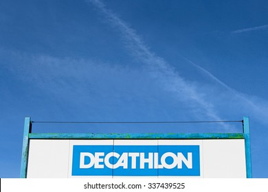 PONTAULT COMBAULT, FRANCE - NOVEMBER 8, 2015: Logo of Decathlon brand in Pontault Combault, France. Decathlon is a French company of sporting goods distribution. It currently operates in 21 countries.
