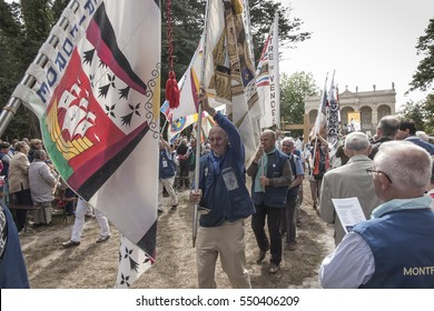 Pontchateau, France - September 11, 2016: The celebration of 300 anniversary of the death of St. Louis Montfort, Monfort Jubilee Year. The photo unidentified participants of the ceremony.