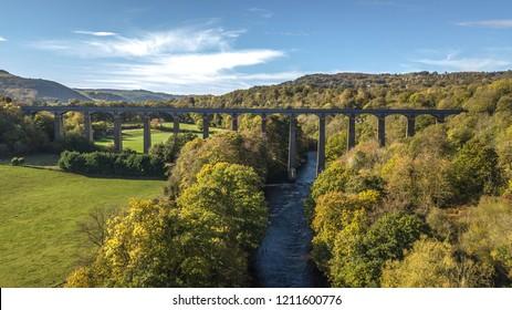 Pontcysyllte Aqueduct Wrexham With crisp blue sky and clouds aerial view.