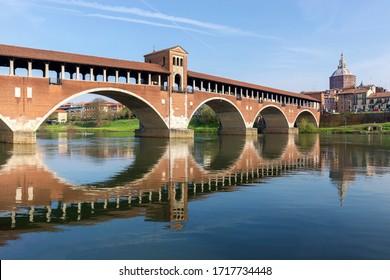 Ponte Coperto (Coperto Bridge) On The Ticino River, Pavia, Italy