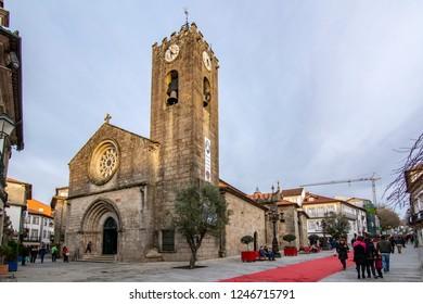 Ponte de Lima, Portugal ; December 2015:  Famous church Igreja Matriz in Ponte de Lima a town in the Northern Minho region in Portugal