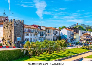 PONTE DE LIMA, PORTUGAL, MAY 24, 2019: Riverside of Ponte de Lima village in Portugal