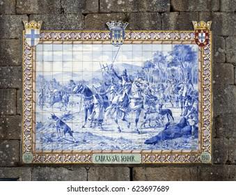 PONTE DE LIMA, PORTUGAL – OCTOBER 7, 2016: Panel of blue ceramic tiles depicting Portuguese King Afonso Henriques during a hunting scene in 1140.
