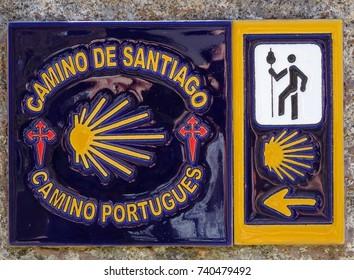 PONTE DE LIMA, PORTUGAL - SEPTEMBER 3, 2017: Waymark along the Way of St. James on September 3, 2017 in Ponte de Lima, Portugal, Europe