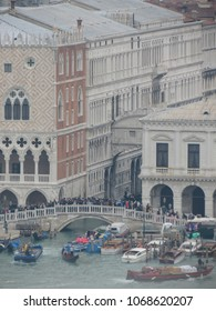 Ponte dei sospiri (meaning Bridge of sighs) seen from San Giorgio, San Marco basin in Venice, Italy