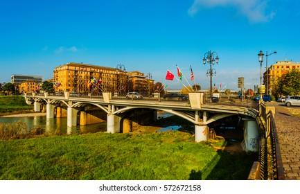 Ponte delle Nazioni (Bridge of Nations) in city of Parma, region of Emilia-Romagna, northern Italy.