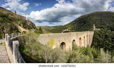 Ponte delle Torri aqueduct in Spoleto, Umbria Italy