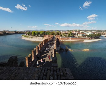 Ponte di Castelvecchio (meaning Old Castle Bridge) aka Ponte Scaligero (meaning Scaliger Bridge) over river Adige in Verona, Italy