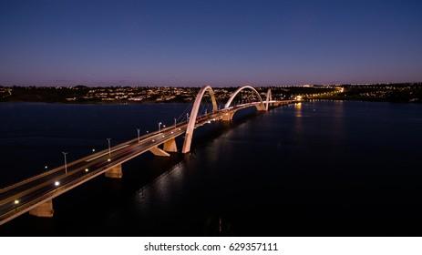 Ponte JK during sunset showing Lago Paranoa in Brasilia, Brazil.