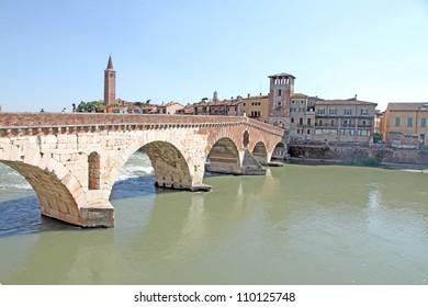 Ponte Pietra Bridge over the Etsch-River Verona Veneto Italy