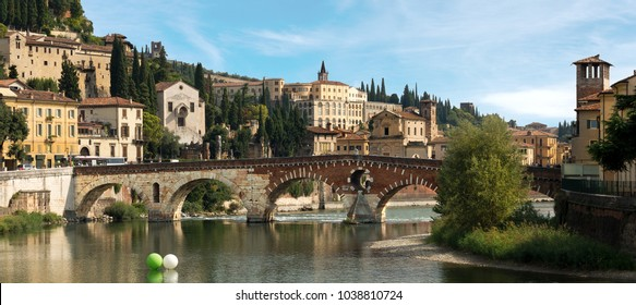 Ponte Pietra (Stone bridge) - 1st century B.C. - the oldest Roman monument in Verona (UNESCO world heritage site) and the Adige river, Veneto, Italy