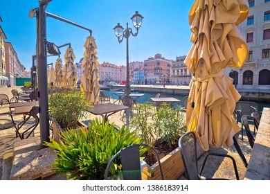 Ponte Rosso channel in Trieste italian cafe view, city in Friuli Venezia Giulia region of Italy