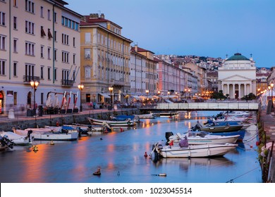 Ponte Rosso at sunset, Trieste, Italy