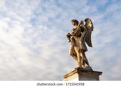 Ponte Sant'angelo. Pedestrian bridge over the Tiber, bridge of the Holy angel. Figure on the bridge close-up.