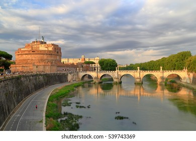 Ponte Sant'Angelo (Pons Aelius) across Tiber river and nearby Sant'Angelo Castle in Rome, Italy