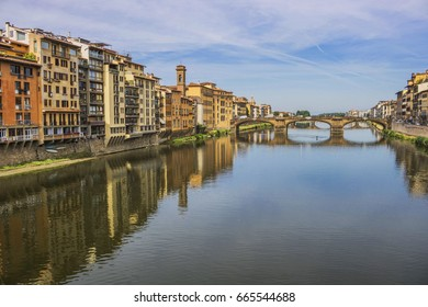 From Ponte Vecchio, Arno river in Florence, Italy.