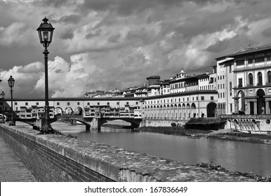 Ponte Vecchio in black and white - Florence, Italy