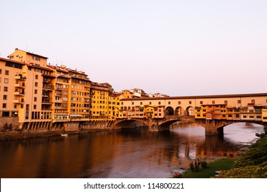Ponte Vecchio Bridge Across Arno River in Florence at Morning, Italy
