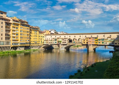 Ponte Vecchio bridge in Florence, Italy in a beautiful summer day