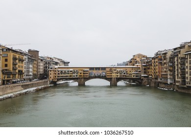Ponte Vecchio in Florence with snow during the winter season