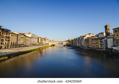 Ponte Vecchio in Florence, Tuscany, Italy. Wide angle view of the world famous bridge over Arno river.
