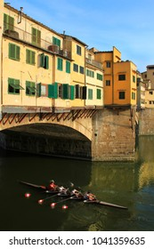 Ponte Vecchio - Old Bridge, famous stone bridge  with shops built along it, over the river Arno, Florence, Tuscany, Italy.