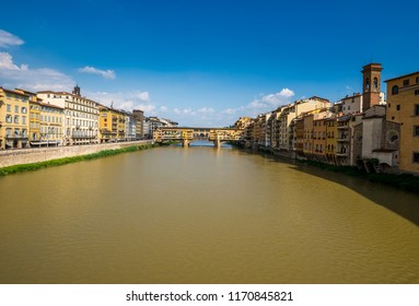 Ponte Vecchio is one of the oldest bridges, with jewelery shops on top each side of the bridge.