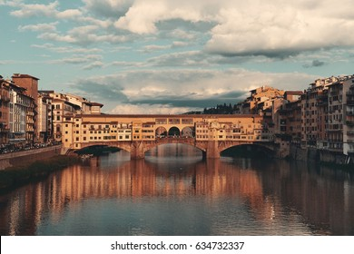 Ponte Vecchio over Arno River in Florence Italy at sunrise