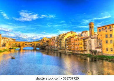 Ponte Vecchio and riverside view with boat in Florence (HDR), Italy