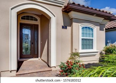 Ponte Vedra Beach, Florida / USA - November 29 2019: Closeup of the front entrance of a nice home