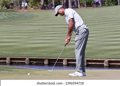PONTE VEDRA BEACH, FLORIDA-MAR 14: Tiger Woods putts the green during the first round of The PLAYERS Championship on The Stadium Course at TPC Sawgrass on March 14, 2019 in Ponte Vedra Beach, Florida.