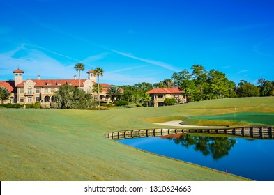 Ponte Vedra, Florida /USA - 1-14-2014: Next to the famous golf course, the The Players Championship Sawgrass Clubhouse is a posh resort.
