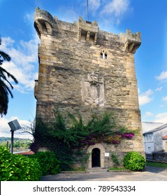 "Pontedeume, Galicia / Spain. July 29, 2017. Ancient medieval stone tower in very good condition, part of the castle of the family ""Andrade"" very powerful in Galicia in the Middle Ages"