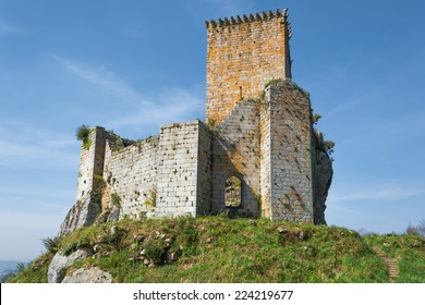 Pontedeume, Spain - March 21, 2009: Facade of the Andrade's Tower, a defensive construction built on the top of a hill.
