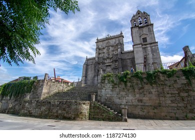 Pontevedra, Galicia, Spain; September 2018:  Facade with reliefs of Saint Mary the Bigger, basilica and church, of plateresque style, in Pontevedra city