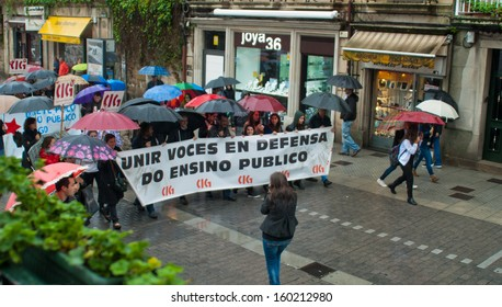 Pontevedra - OCTOBER 24: Demonstration against the education law of the conservative government, carrying banners vindicating, held through the streets of Pontevedra, on October 24, 2013.