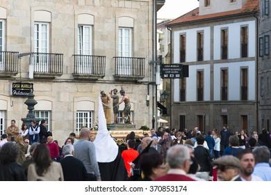 PONTEVEDRA, SPAIN - APRIL 2, 2015: Celebration of Easter in the historic center of the city.