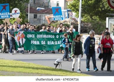 PONTEVEDRA, SPAIN - JUNE 3, 2017: Detail of the environmental protest against the permanence of polluting industries in the Ria de Pontevedra (Rias Baixas).