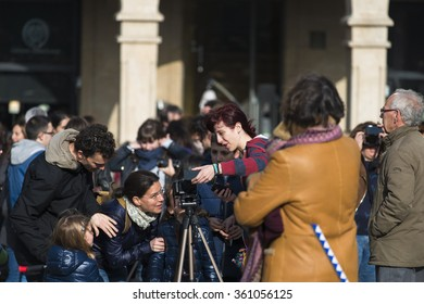 PONTEVEDRA, SPAIN - MARCH 20, 2015: People trying to see the almost total eclipse of the sun, which could be seen at that time in the city.