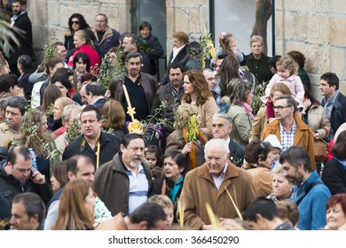 PONTEVEDRA, SPAIN - MARCH 29, 2015: Detail of person participating in the celebration of Palm Sunday before Easter, waiting for the blessing of olive branches and palm..