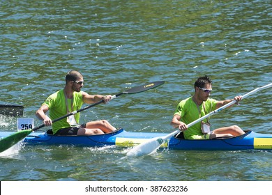 PONTEVEDRA, SPAIN - MAY 17, 2015: Detail of some participants in the Spain Championship Canoe Marathon, held in the river running through the city.
