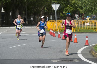 PONTEVEDRA, SPAIN - MAY 22, 2016: Detail of the participants in the Championship of Spain Triathlon Relay held in the city.